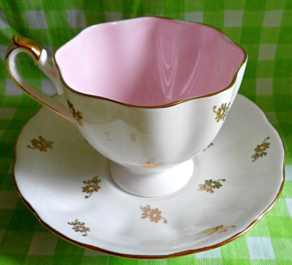 Adorable 'Queen Anne' Pink and Gold Teacup & by RoyalRummage, $20.00