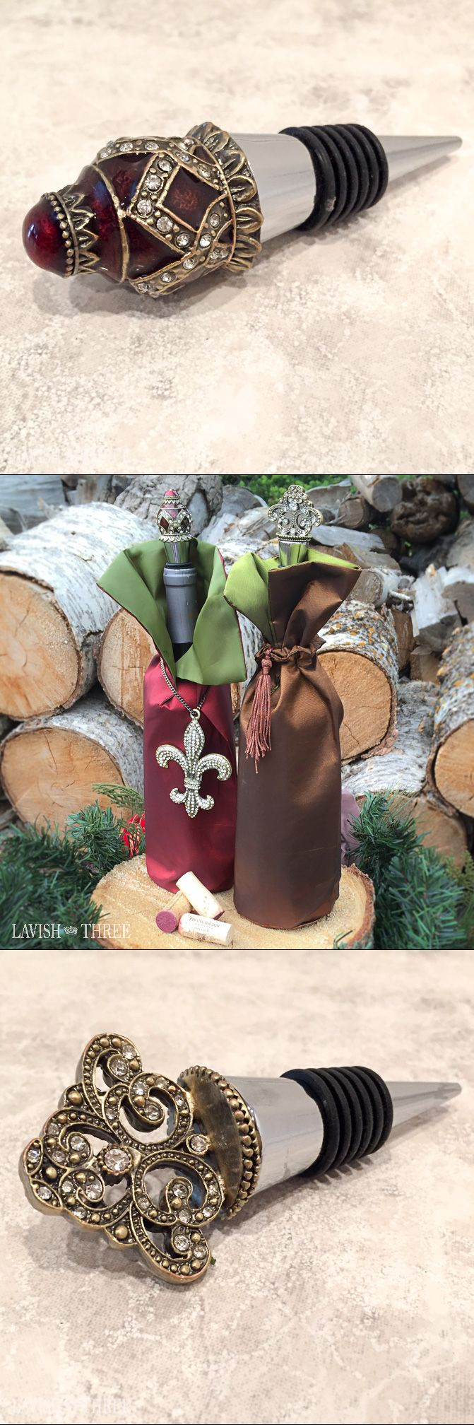 Beautiful wine bottle dresses and elegant bottle toppers make a lavish hostess gift this Christmas.