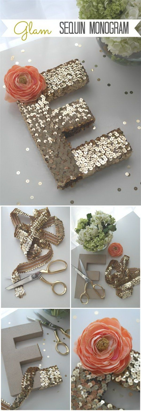 DIY Sequin Monogram Letter. Decorate cardboard letters with gold sequins and a piece of flower! This will adorn a wall, table or shelf in any room in the home!