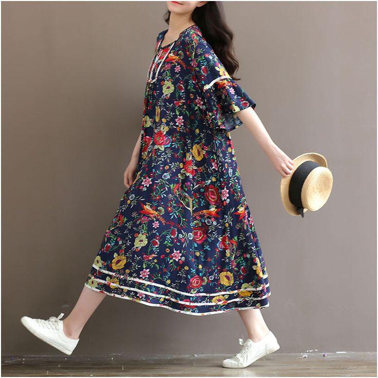Blue Flower dress , retro linen Dress/ plus size clothing/ vintage women linen maxi dress/ butterfly sleeve loose dress
