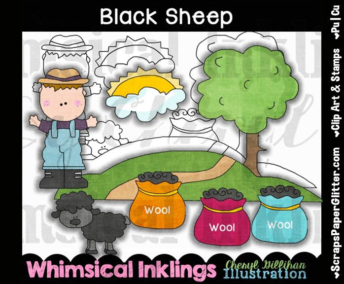 Black Sheep Clip Art, BONUS Lineart, Commercial Use, Digital Stamps, Clipart, Black & White, Storybook, Nursery Rhyme, Poem, Song, Preschool by ResellerClipArt on Etsy