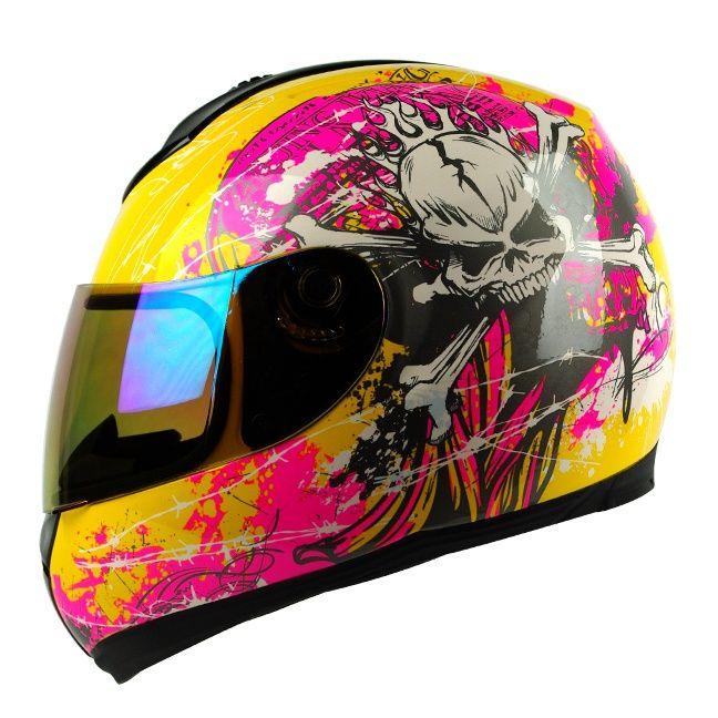 Any Size~ Yellow Pink Skull Full Face DOT APPORVED Motorcycle Street Bike Helmet | eBay