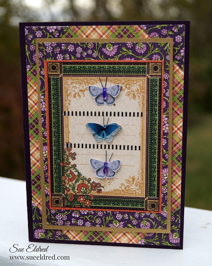 This card was made  with paper from Graphic 45's Rare Oddities Collection and Little B LLC's tiny dimensional butterflies.