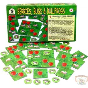 Berries, Bugs and Bulfrogs - Four different cooperative tile games. Players form as many good Berry Patches as they can, with the help of the friendly Bullfrogs. The basic mathematical skills of adding, subtracting, multipying and dividing all get a workout.