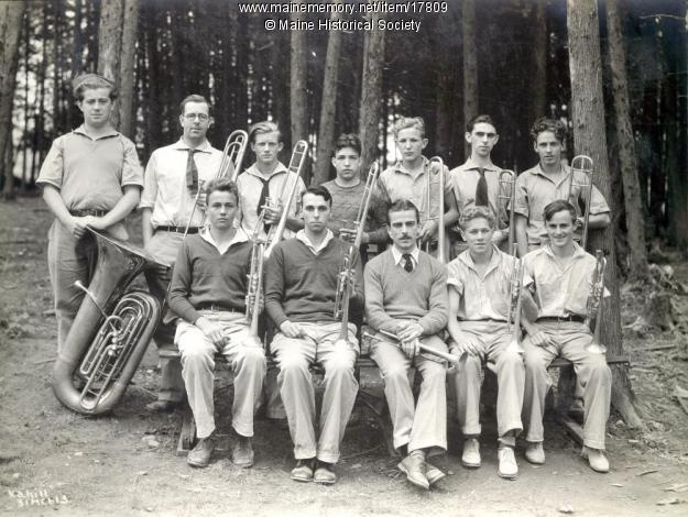 The brass section -- tubas, trombones, and trumpets -- at the Eastern Music Camp at Lake Messalonskee in Sidney in about 1932.   Second from left in the back row is Stanley G. Hassell, New England Conservatory of Music, a faculty member in brass. Camp still operates as New England Music Camp. <3