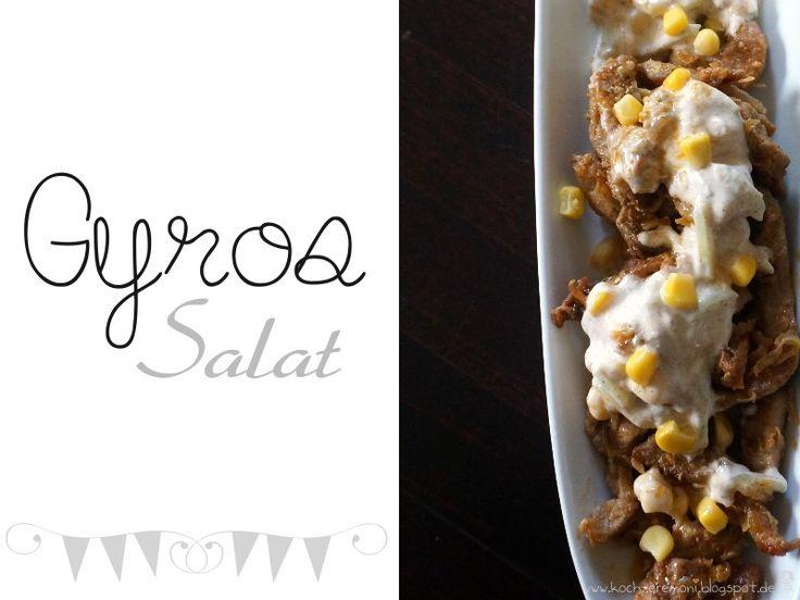 Salat, Salat mit Fleisch, Gyros, Pita, Griechischer Salat, Knoblauch-Joghurt-Soße, Joghurt-Dressing, Knoblauchdressing,