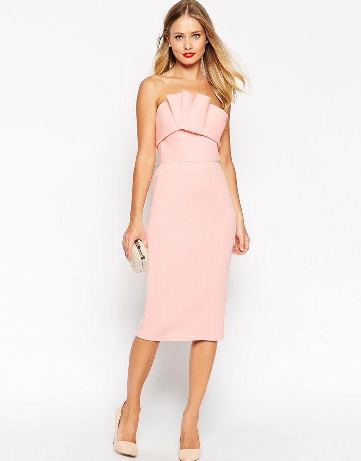 Find the right evening dress can be hard job ... This pink bonded scuba ruffle bandeau dress is the perfect choice how to look like a princess at the event.