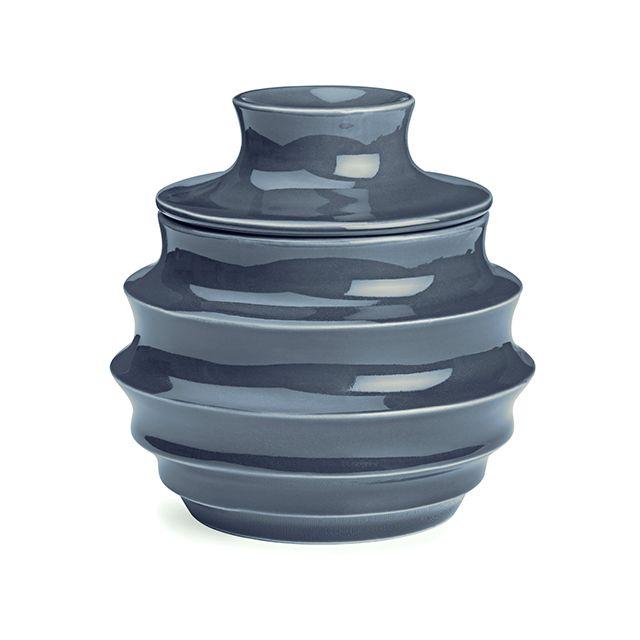 Dusty Blue Lidded Jar, large