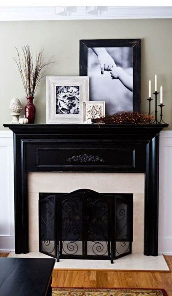 decorating fireplace mantels pictures and tall plants big decorations for a big space - Fireplace Surround Ideas
