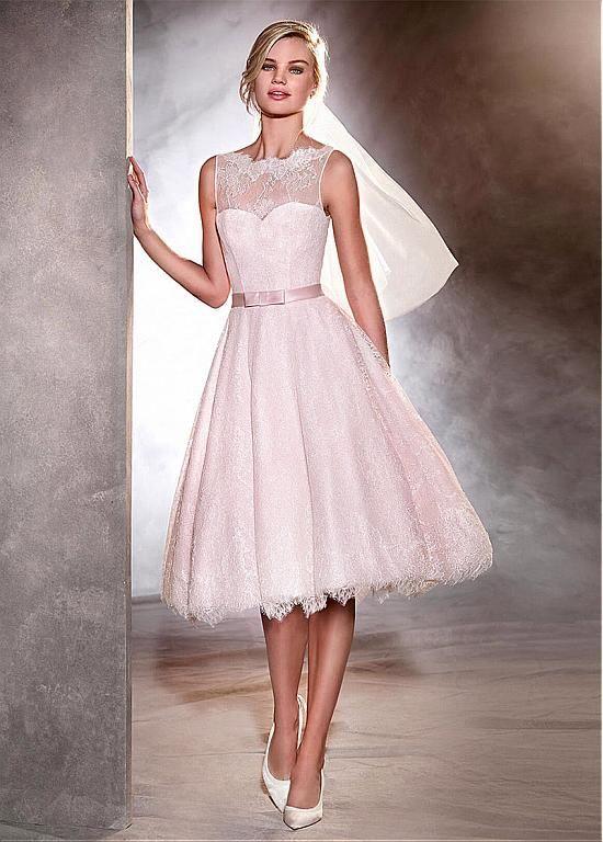 Gorgeous Lace Bateau Neckline Tea-length A-line Wedding Dresses With Belt