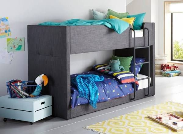 Willow Fabric Bunk Grey Kids Bunk Beds Cool Bunk Beds Kid Beds