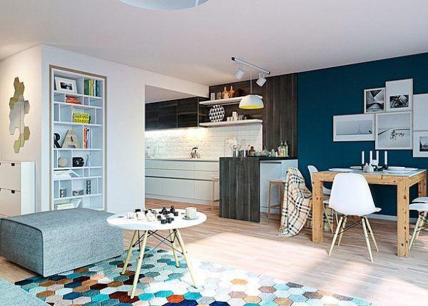 Femina Design Appartement Bleute A Oslo Amenagement Interieur Deco Salon Appartement