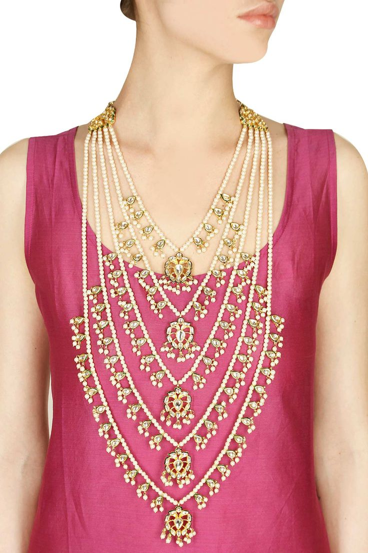 Gold finish kundan stone and pearl chain multi strands necklace available only at Pernia's Pop-Up Shop.