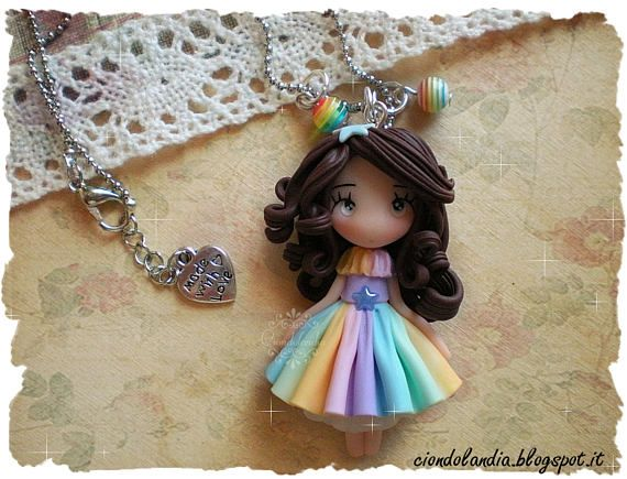 Rainbow princess doll necklace fimo #princess #principessa #doll #necklace #chibi #kawaii