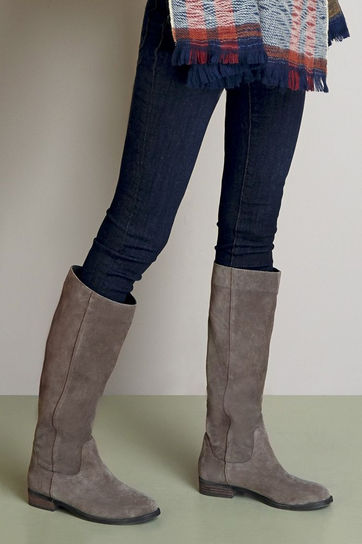 Comfortable, slouchy tall suede boots