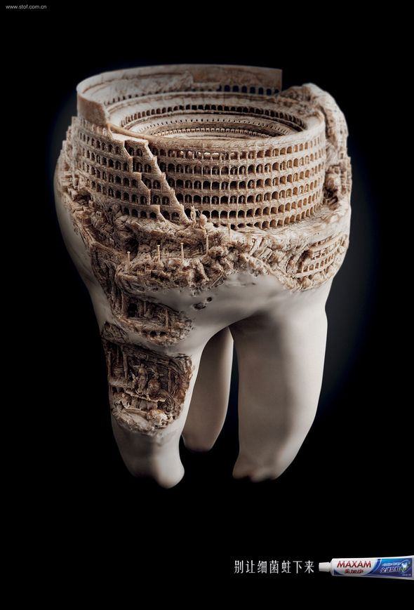 "—Agency: JWT, Shanghai, China ""Don't let germs settle down,"" said the copy line on these toothpaste ads, showing ancient ruins being excavated from inside teeth."