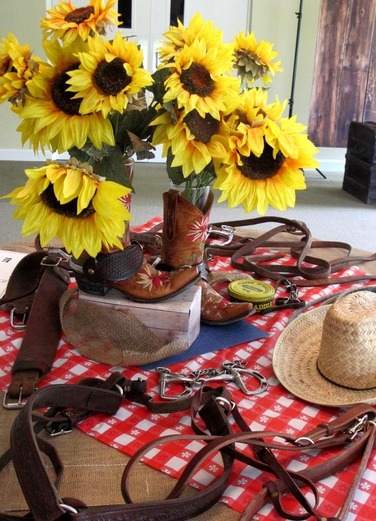 entry table decor cowboy western