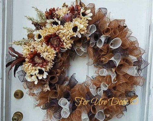 Fall Deco Mesh Wreath Elegant Fall Wreath XL Fall Wreath