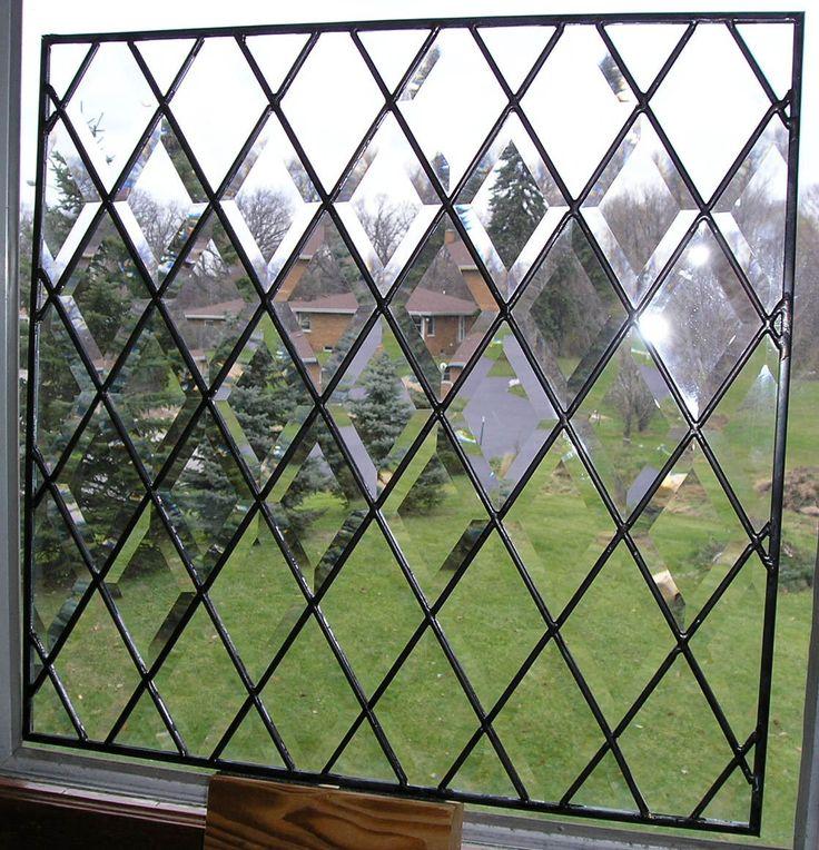 www.stainedglass.studio (E2) Full Beveled Design Stained Glass Diamond Window - Clear Leaded