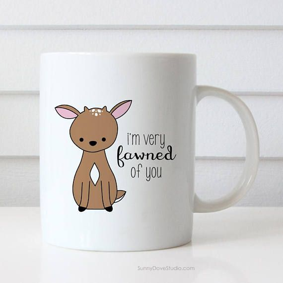 I Love You Gift Mug For Girlfriend Wife Romantic Anniversary Birthday Funny Deer Pun Fawned Cute Gifts Mugs Cup Her Him Boyfriend Husband  Im Very Fawned of You. This cute deer pun mug is a fun way to tell your girlfriend, boyfriend, wife, husband, that special someone in your life just how much they mean to you!  Perfect for Christmas, Valentines Day, anniversaries, birthdays and every day in between, this funny mug makes a sweet companion to any daily coffee routine!  Design is printed on…
