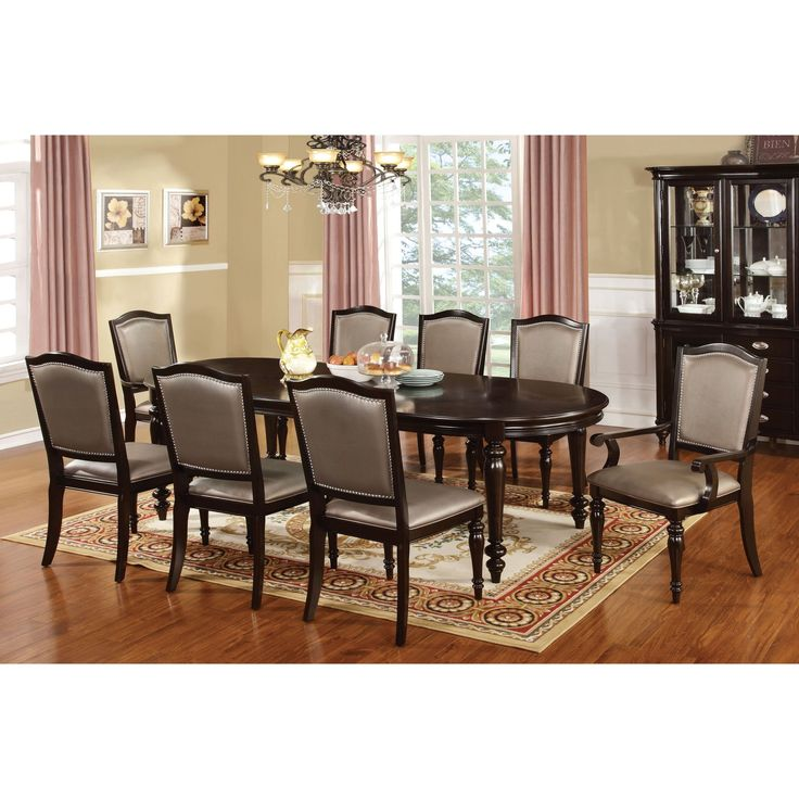 Furniture of America Lucia 9 Piece Formal Dining Table - IDF-3970T-GL-9PC