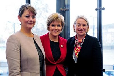 Nicola Sturgeon with the leader of the Green Party of England and Wales, Natalie Bennett (left) and the leader of Plaid Cymru Leanne Woodand
