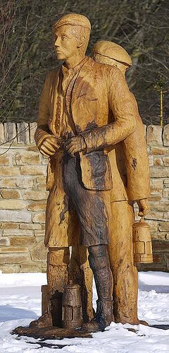 Drift Miners. Chainsaw sculpture by Tommy Craggs www.treesculpting.co.uk at Pea Hill Community Park, Fir Tree, Co. Durham
