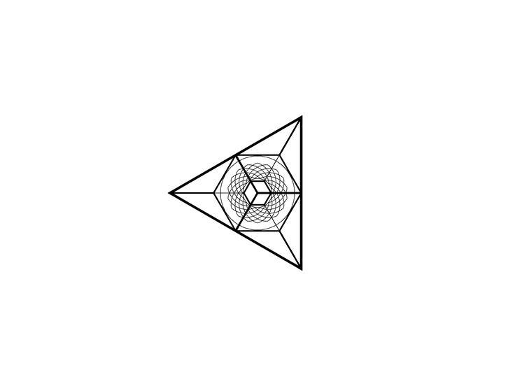 Geometric blackwork Spiral triangle cube black And white linework design.▫️▪️