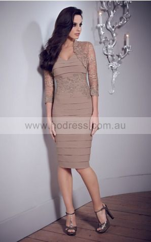 Deep V-neck 3/4-Length Sleeves Sheath Zipper Knee-length Formal Dresses afba307049--Hodress