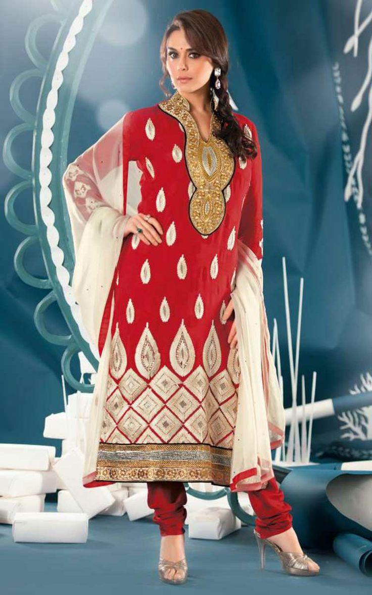 RED & OFF WHITE JACQUARD EMBROIDERED SALWAR KAMEEZ - ZIN 9006