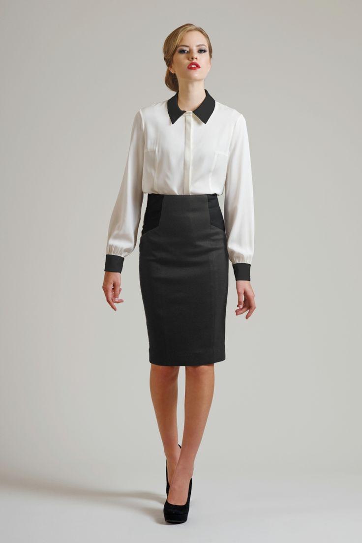 Damen Businessmode Rock knielang Hemd in Weiß