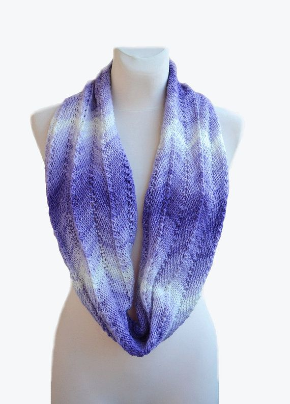 Purple white scarf lovely warm loop scarf winter accessories