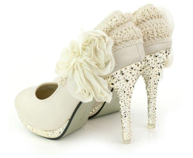 $35 on Ebay: Ideas, Lace Flowers, Platform High Heels, Wedding Shoes, Ivory Wedding, Weddings, Woman Shoes, White Heels, Bridal Shoes