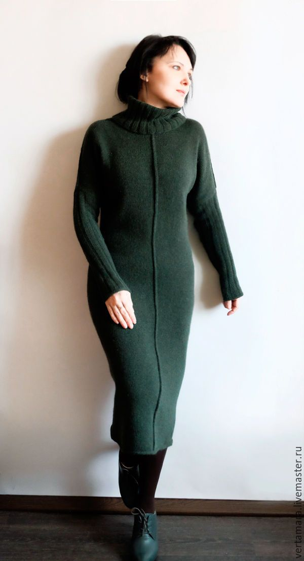 Купить Платье миди. Темно зеленое. - тёмно-зелёный, однотонный, платье вязаное, платье повседневное