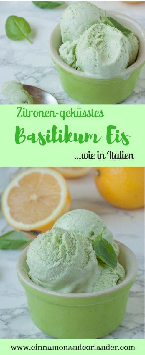 Creamy basil ice cream with lemon