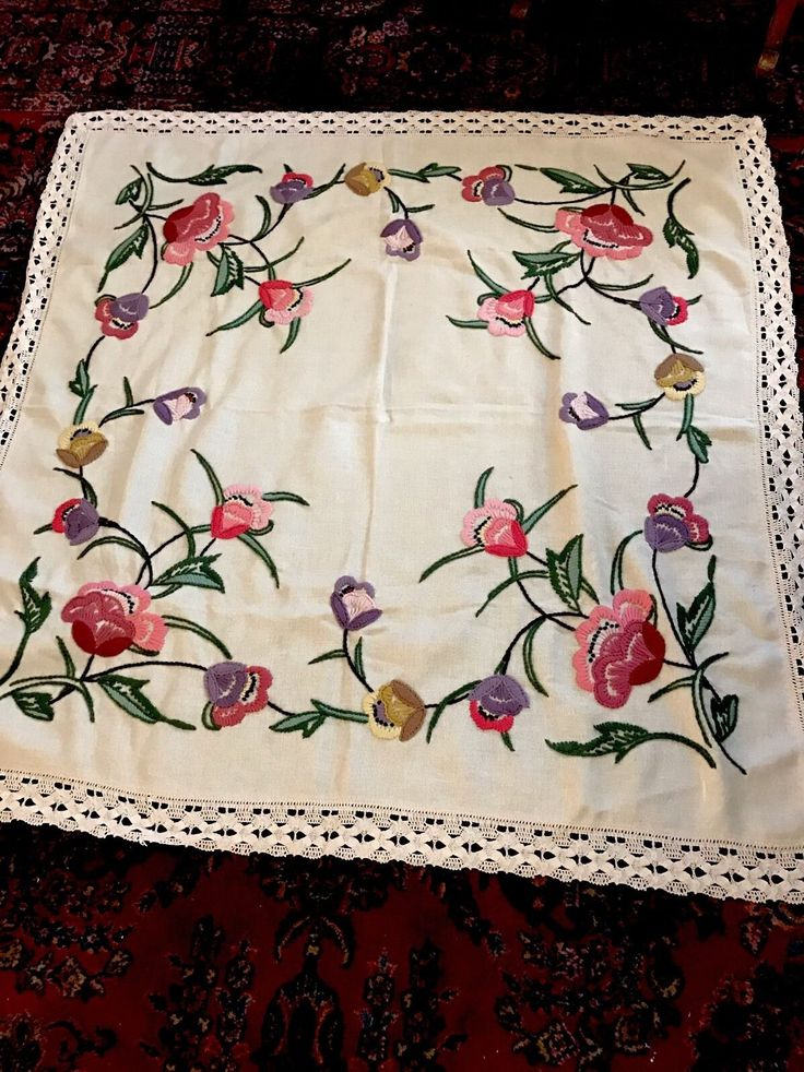 """Mixed Flower Bouquets ~ Vintage Heavily Raised Hand Embroidered Tablecloth FOR SALE • $29.99 • See Photos! Money Back Guarantee. I have for sale a stunning Vintage Embroidered tablecloth, Cream/tan with colorful flowers. Measures approximately 56"""" square. This would look so lovely on your table 332025658184"""