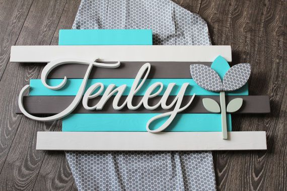 Flower Wood Name Sign Wooden Nursery Decor by CucumberAppleStudio