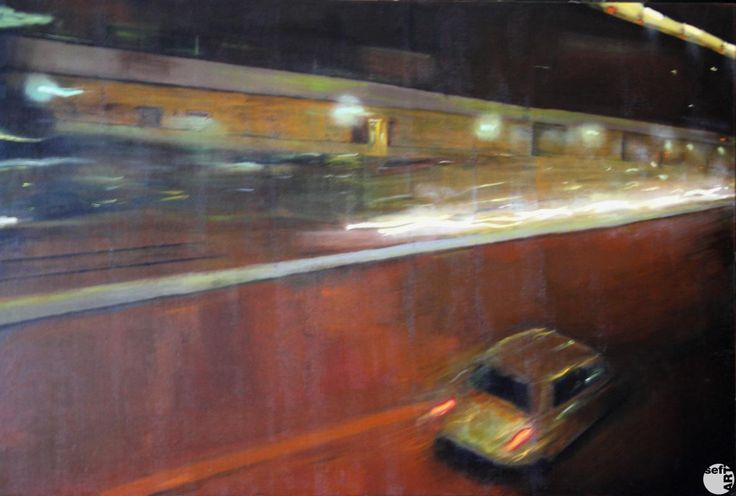 CORSA NELLA NOTTE Autore: Luca Rinaldi #sefiart #arte #pittura #auto #strada #car#street #art #painting #travel