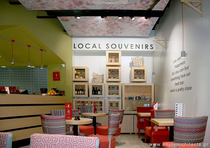 the souvenir showcase designed by Paraskevi Papasotiriou of enjoy architects for Polis Apartments Hotel