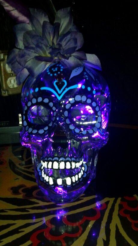 Sugar skull i made out crysral head vodka bottle .. added lights for fun