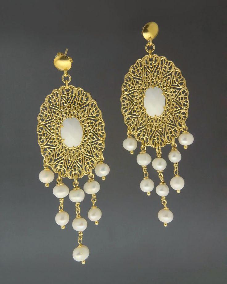 Κρεμαστά σκουλαρίκια με Αχάτη & Μαργαριτάρια