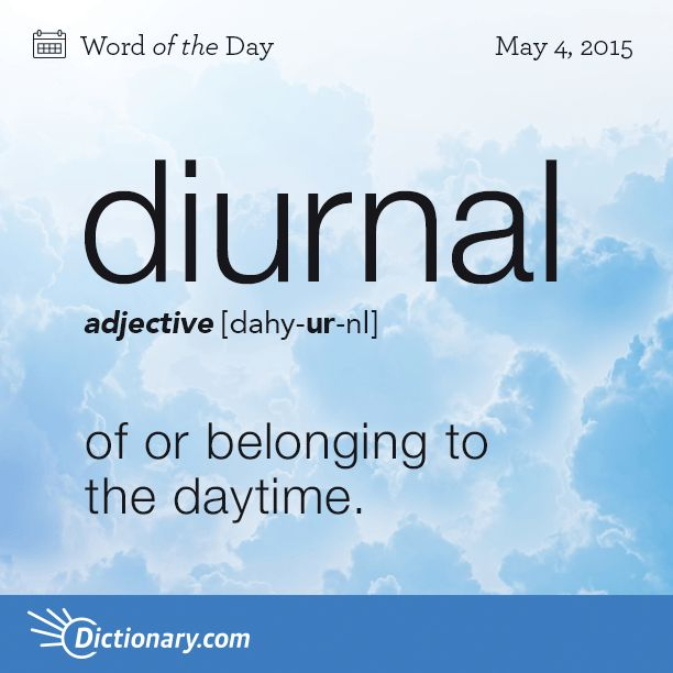 Dictionary.com's Word of the Day - diurnal - of or belonging to the daytime (opposed to nocturnal).