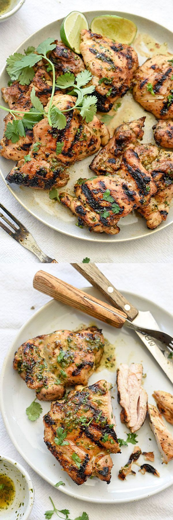 Both lime juice and zest make this a super flavorful marinade for grilled chicken thighs | foodiecrush.com #chicken #recipe
