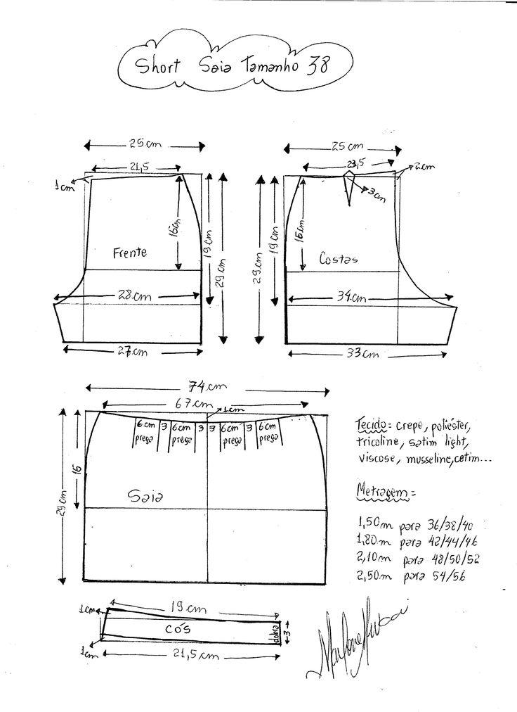 Patrón para confeccionar un Short falda. Tallas desde la 36 hasta la 56.