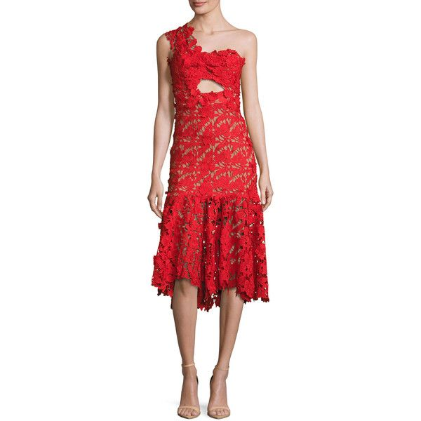 Johanna Ortiz Lace One-Shoulder Midi Dress ($1,368) ❤ liked on Polyvore featuring dresses, red, women's apparel dresses, midi cocktail dress, one shoulder cocktail dress, one shoulder dress, fitted dresses and red dress