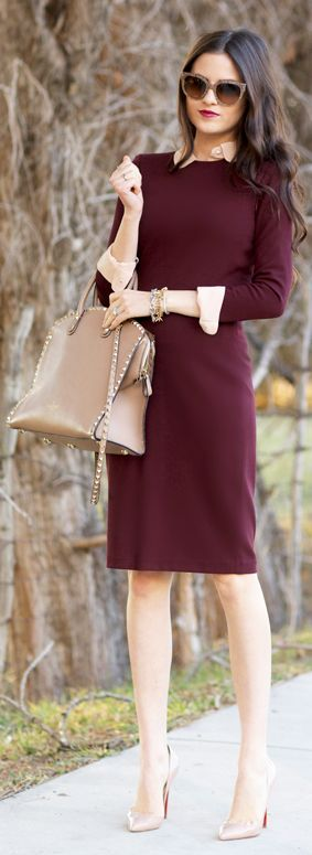 Women's fashion | Burgundy dress, neutral accessories women fashion outfit clothing style apparel @roressclothes closet ideas