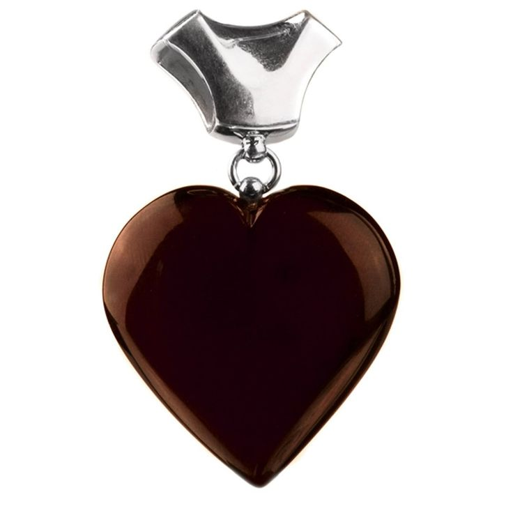 Sterling Silver Red Dark Amber Heart Pendant. Amber is organic material with healing properties. Weight of amber is traditionally calculated in grams, not carats like precious gemstones. Market value of amber is approximately the same as silver and price for finished piece of jewelry calculated by total weight of the product.