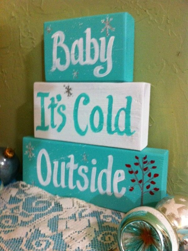 Baby it's cold outside sign stacking wood blocks retro aqua glitter hand painted #TrimbleCrafts #retro