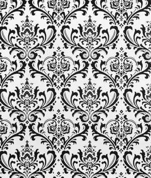 "Premier Prints Traditions Black/White Fabric $7.95 Material: 100% Cotton Duck Width: 54"" Horizontal Repeat: 12.5"" Vertical Repeat: 12.5"" Durability: 15,000 Double Rubs Thread Count: 80 x 32 Weight: 7 oz per square yard Country of Origin: U.S.A."