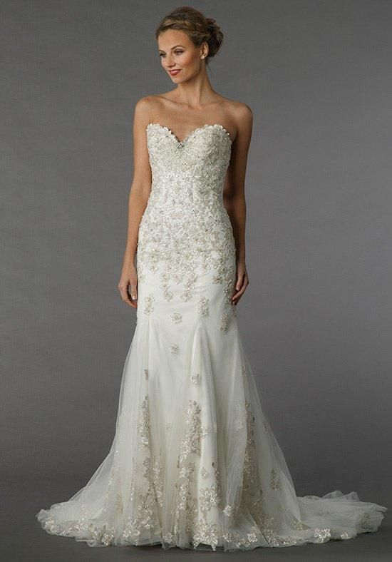 Dennis basso for kleinfeld gown with sweetheart neckline for Kleinfeld wedding dresses sale